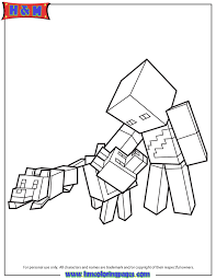 Minecraft Character And Wolves Coloring Page