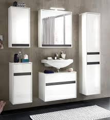 badmöbel komplett set lack hochglanz weiß und grau 5 teilig sol hängend beleuchtung ohne beleuchtung