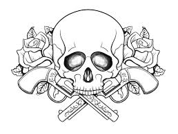 Skull With Guns Flowers Coloring Pages Printable And Book To Print For Free Find More Online Kids Adults Of
