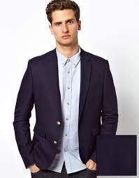 asos slim fit blazer in blue for men lyst