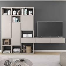 wohnwand mit tv hängeboard in beige casu