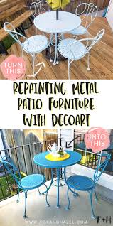 Repainting Metal Patio Furniture With DecoArt! | Fox + Hazel Crosley Griffith Outdoor Metal Five Piece Set 40 Patio Ding How To Paint Fniture Best Pick Reports Details About Bench Chair Garden Deck Backyard Park Porch Seat Corentin Vtg White Mid Century Wrought Iron Ice Cream Table Two French White Metal Patio Chairs W 4 Chairs 306 Mainstays Jefferson Rocking With Red Choosing Tips For At Lowescom