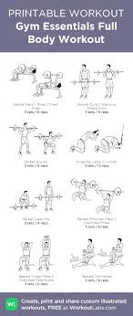 Gym Essentials Full Body Workout Illustrated Exercise Plan Created