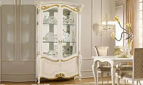 klassische vitrine massivholz beige wohnzimmer schrank barock stil italienisch