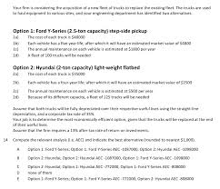 Solved: Your Firm Is Considering The Acquisition Of A New ... Ford F150 Questions Estimated Value Cargurus Beaver Dam Vehicles For Sale In Wi 53916 2018 Commercial Overview Chevrolet Police Searching Suspects Who Stole 69000 Worth Of Atvs Truck Sale Traverse City Mi Fox Grand Kelley Blue Book Used Truck Value Best Resource Are The New Electric Pickup Trucks Worth Price Tag Dwym Dodge Ram Ontario Hanover Chrysler Calculator Solved Exercise 107 Linton Company Purchased A Delivery And Used Cars Trucks Terrace Bc Maccarthy Gm For Warrenvilleultimo Motors