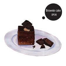brownie cake chocolate on plate watercolor painting vector vector art illustration