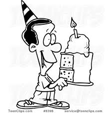 Cartoon Black and White Line Drawing of a Black Birthday Boy Holding a Slice of Cake 8396 by Ron Leishman