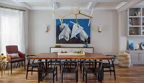 Artistic Designs For Living Dining Area With Blue Wall Art Fancy