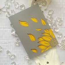 Sunflower Cut Modern Rustic Wedding Invitation Bifold Simple Grey And Yellow Card DIY Printable
