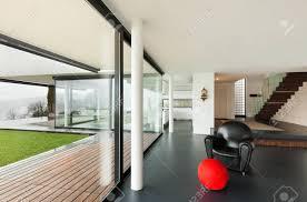 architektur schöne innenausstattung einer modernen villa wohnzimmer