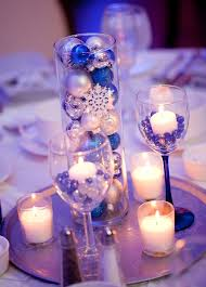 Blue Silver Winter Wonderland Centerpieces