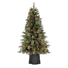 5ft Pre Lit White Christmas Tree by Shop Holiday Living 4 5 Ft Pre Lit Hayden Pine Artificial