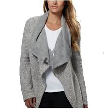 bnci womens tweed drape front shawl collar cardigan grey white