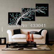3 Piece Set Abstract Modern Wall Deco Oil PaintingAbstract Art Flower Black White Blue No Framed Free Shipping
