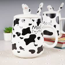420ml 4 Design Creative Cute Dairy Cow Ceramic Mugs Water Container Cups And Porcelain Tea Cup Coffee Mug With A Lid In From Home Garden On