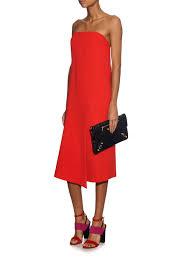 tibi strapless drape dress in red lyst