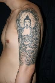 Attractive Man Left Half Sleeve Buddhist Tattoo
