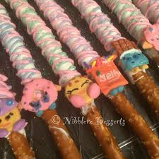 Halloween Decorated Pretzel Rods by 12 Shopkins Chocolate Dipped And Decorated Pretzel Rods