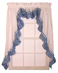 Jacobean Floral Country Curtains by Lynn 3 Piece White Country Ruffled Swags U0026 Filler Valance Window