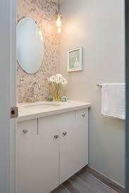 glazed mosaic backsplash wall tiles powder room traditional with