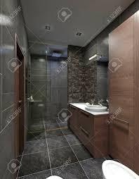design badezimmer im modernen stil mit dusche und badewanne weiß die schwarz grau und braun 3d übertragen