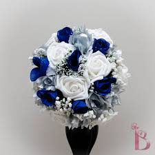 Wedding Bouquet Royal Blue And Silver Silk Bridal