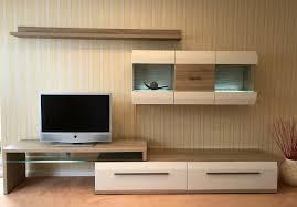 wohnwand wohnzimmerschrank tv board eiche hell m led beleuchtung