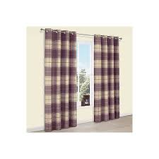 Thermal Lined Curtains Ireland by Esmeralda Purple Check Thermal Eyelet Lined Curtains W 167 Cm L