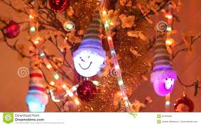 Christmas Tree Ornaments Hanging On The Cherry Flowers Shallow Depth Of Field Camera Movement Stock Footage