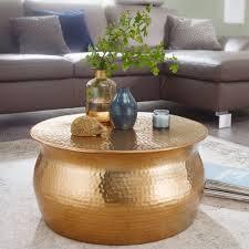 wohnling couchtisch karam 60x30 5x60 cm aluminium gold beistelltisch orientalisch rund flacher hammerschlag sofatisch metall design