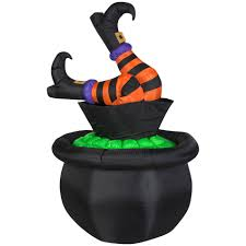 Halloween Witch Yard Stakes by Animated Airblown Witch Legs In Cauldron U2014kmart