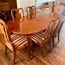 Dining Set Oval Table American Drew Cherry 7 Pieces - Used - 6 Chairs W/  Leaf American Drew Queen Anne Ding Table W 12 Chairs Credenza Grantham Hall 7 Piece And Chair Set Ad Modern Synergy Cherry Grove Antique Oval Room Amazoncom Park Studio Weathered Taupe 2 9 Cozy Idea To Jessica Mcclintock Mcclintock Home Romance Rectangular Leg Tribecca 091761 Square Have To Have It Grand Isle 5 Pc Round Cherry Pieces Used 6 Leaf