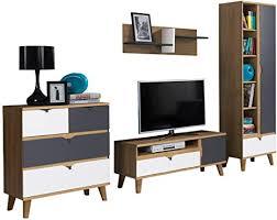 wohnwand memone i stilvoll wohnzimmer set elegante wohnmöbell wohnzimmer kollektion wandregal kommode regal tv lowboard eiche gold graphit