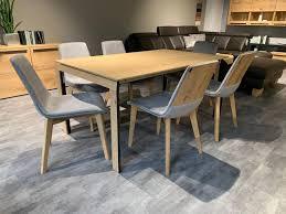 essgruppe 6 stühle stoff grau mit tisch massivholz ausziehbar