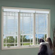 Perfect Lift Window Treatment White 2 in Cordless Faux Wood Blind