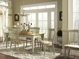 Rustic Dining Room With French Country Style Sets And Wooden Table White Legs Brown Top Plus 4 Chairs Flower Pattern