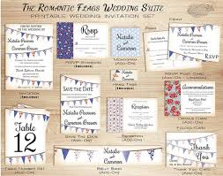 Rustic Barn Wedding Invitation Set Printable Country W Bunting Flags For Summer