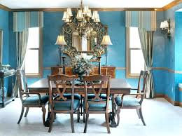 Victorian Dining Room Bright Inspiration For Chandelier Lighting Using Blue Wall Color And Stylish Valances Table