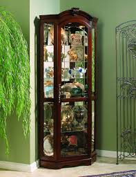 corner curio cabinet medallion cherry in stock clearance