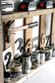 Screw Storage In Mason Jars And Cups With Funky Numbers Reclaimed Wood Wall Junky