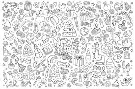 Doodle To Color Happy New Year 2016