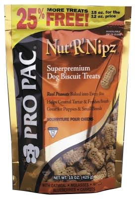 Pro Pac Nut R Nipz Dog Biscuit Treats 15 oz