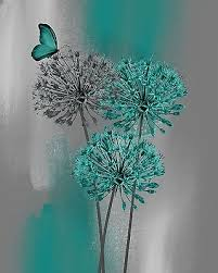 Teal Gray Modern Floral Butterfly Decor Bedroom Bathroom Wall Art Picture