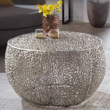 wohnling couchtisch 65x45x65 cm aluminium silber design loungetisch rund sofatisch ast struktur metall wohnzimmertisch modern stubentisch klein