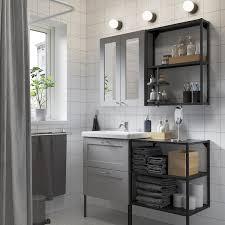 enhet tvällen badezimmer set 15 tlg grau rahmen anthrazit lillsvan mischbatterie 122x43x87 cm
