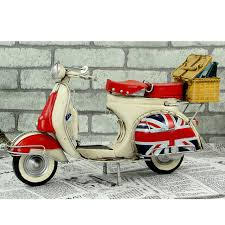1959 Vespa Model Vintage Metal Motorcycle Roman Holiday Little Sheep With Camp Basket Toy Diecast