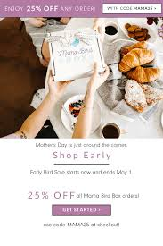 Mama Bird Box Mother's Day Early Bird Sale: Get 25% Off ... Coupons Discount Options Promo Codes Chargebee Docs Earn A 20 Off Coupon Code 1like Lucy Bird Jenny Bird Sf Opera Scooter Promo Howla Boutique D7100 Cyber Monday Deals Oyo Offers Flat 60 1000 Nov 19 Promotion Codes And Discounts Trybooking Code Reability Study Which Is The Best Coupon Site Stone Age Gamer On Twitter Blackfriday Early Off Camzilla Discount Au In August 2019 Shopgourmetcom Thyrocare Aarogyam 25 Gallery1988 Black Friday