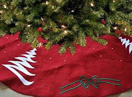 Handcrafted Christmas Tree Skirt Red Burlap Embroidered Holiday Decoration Season Santa Claus Gold