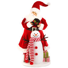 Raz Christmas Decorations Online by Santa Claus With Snowman Large Christmas Decoration