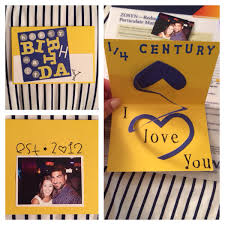 Homemade Card I Made For My Boyfriend His 25th Birthday This Year Quarter Of A Century DIY Spiral Pop Up 3D Heart